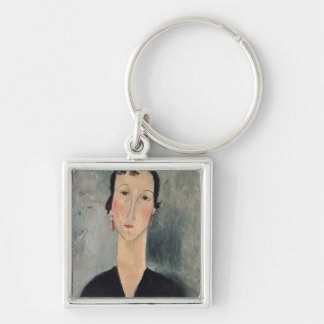 Woman with Earrings Keychain