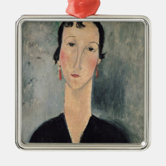 Woman with Earrings Metal Ornament