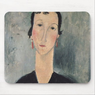 Woman with Earrings Mouse Pads
