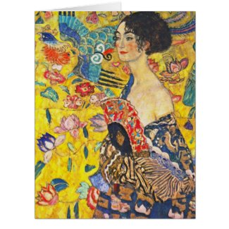 Woman with Fan 1907 Card