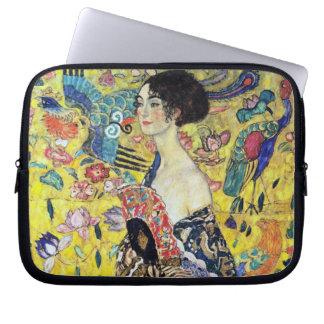 Woman with Fan by Gustav Klimt Laptop Computer Sleeve
