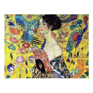 Woman with Fan by Gustav Klimt Postcard