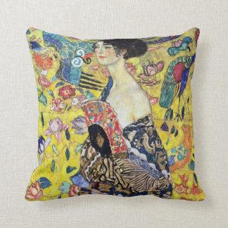 Woman with Fan by Gustav Klimt Throw Pillow