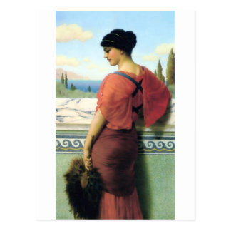 Woman with fan Godward painting Postcard