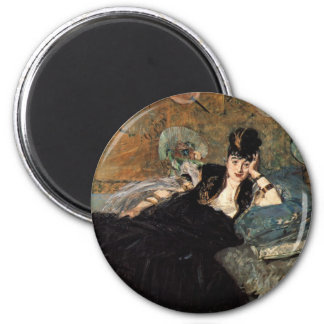 Woman with Fans 2 Inch Round Magnet