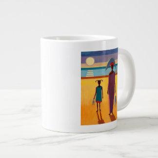Woman with Fish 20 Oz Large Ceramic Coffee Mug