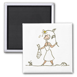 Woman with fish 2 inch square magnet