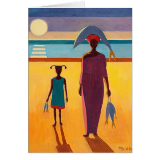 Woman with Fish Greeting Card
