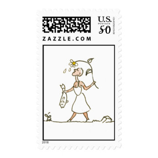 Woman with fish postage