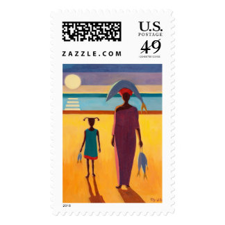 Woman with Fish Postage Stamps