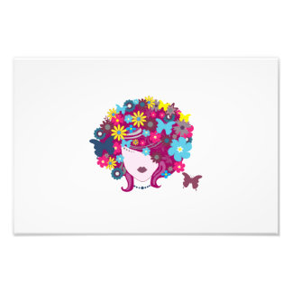 Woman with floral hair illustration photographic print