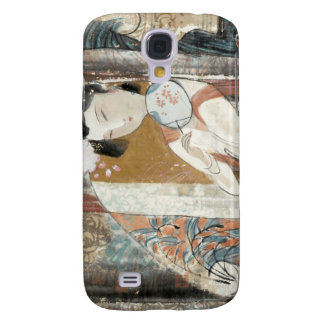 Woman with Floral Hairpin Galaxy S4 Cover