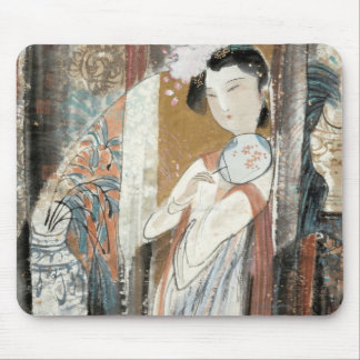 Woman with Floral Hairpin Mousepads