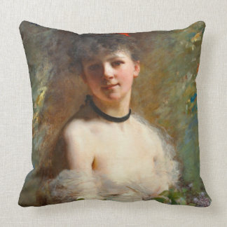 Woman with Flower Basket 1850 Throw Pillows