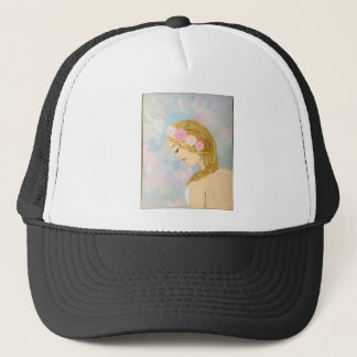 Woman with Flowers in her Hair Trucker Hat
