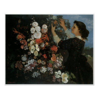 Woman with Flowers (the Trellis) 1862 Poster