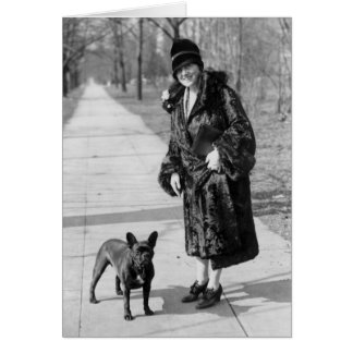 Woman with French Bulldog, 1920s Card