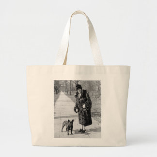 Woman with French Bulldog, 1920s Large Tote Bag