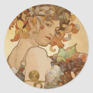 Woman with Fruit Round Stickers