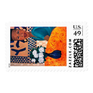 Woman with Gardenias Postage