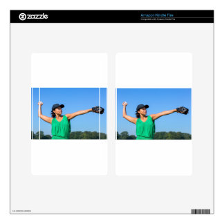Woman with glove and cap throwing baseball outside kindle fire skin