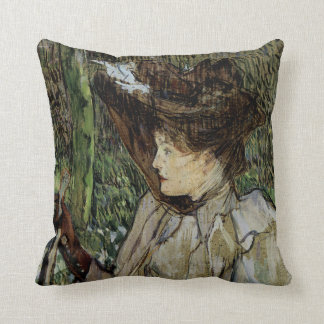 Woman with Gloves by Toulouse-Lautrec Throw Pillow