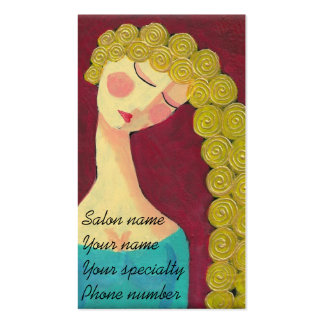 Woman with Golden Curls Stylist Business Cards
