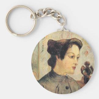 Woman with hair knots - Paul Gauguin Basic Round Button Keychain