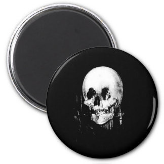 Woman with Halloween Skull Reflection In Mirror 2 Inch Round Magnet