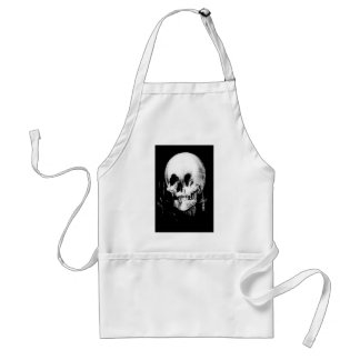 Woman with Halloween Skull Reflection In Mirror Adult Apron