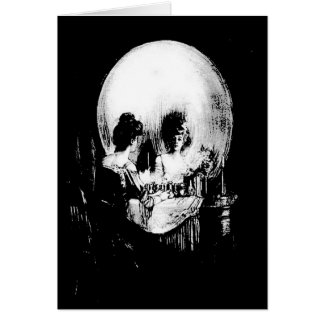 Woman with Halloween Skull Reflection In Mirror Card