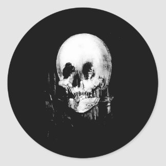 Woman with Halloween Skull Reflection In Mirror Classic Round Sticker