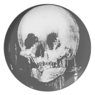 Woman with Halloween Skull Reflection In Mirror Dinner Plate