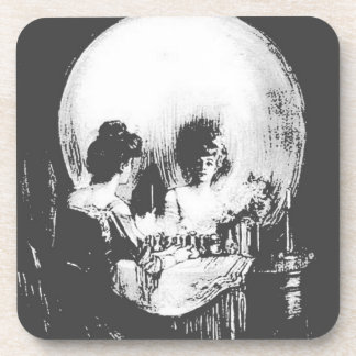 Woman with Halloween Skull Reflection In Mirror Drink Coaster