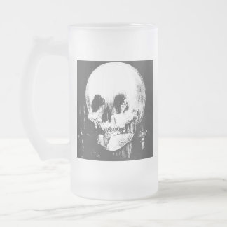 Woman with Halloween Skull Reflection In Mirror Frosted Glass Beer Mug