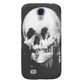 Woman with Halloween Skull Reflection In Mirror Galaxy S4 Cover