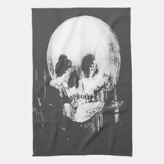 Woman with Halloween Skull Reflection In Mirror Hand Towels