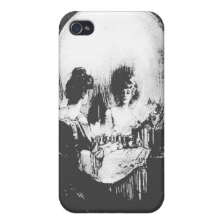 Woman with Halloween Skull Reflection In Mirror iPhone 4 Cases
