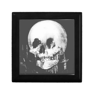 Woman with Halloween Skull Reflection In Mirror Keepsake Box