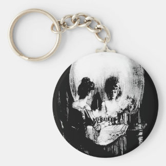 Woman with Halloween Skull Reflection In Mirror Keychain