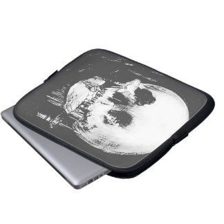 Woman with Halloween Skull Reflection In Mirror Laptop Computer Sleeves