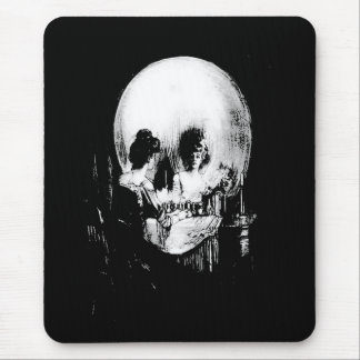 Woman with Halloween Skull Reflection In Mirror Mouse Pad