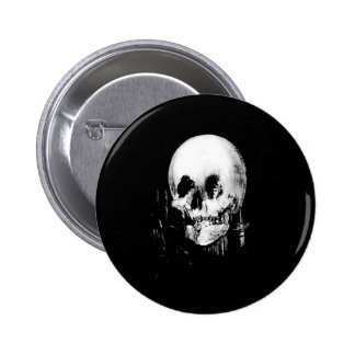 Woman with Halloween Skull Reflection In Mirror Pinback Button