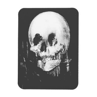 Woman with Halloween Skull Reflection In Mirror Rectangular Photo Magnet