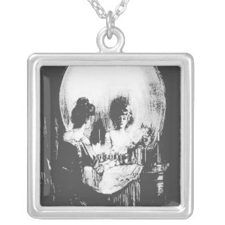 Woman with Halloween Skull Reflection In Mirror Silver Plated Necklace