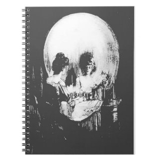 Woman with Halloween Skull Reflection In Mirror Spiral Notebook