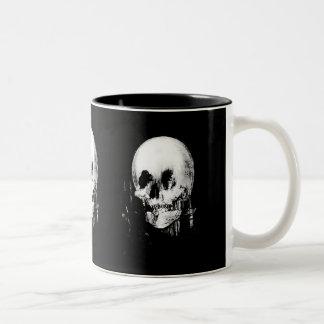 Woman with Halloween Skull Reflection In Mirror Two-Tone Coffee Mug