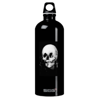 Woman with Halloween Skull Reflection In Mirror Water Bottle