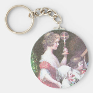 Woman with Haloed Candle Vintage Christmas Keychain