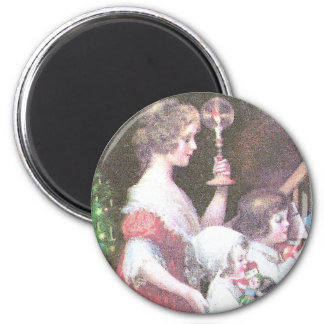 Woman with Haloed Candle Vintage Christmas Magnet
